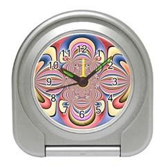 Pastel Shades Ornamental Flower Travel Alarm Clocks
