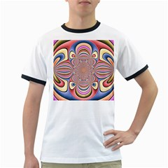 Pastel Shades Ornamental Flower Ringer T-Shirts