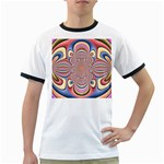 Pastel Shades Ornamental Flower Ringer T-Shirts Front