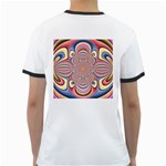 Pastel Shades Ornamental Flower Ringer T-Shirts Back