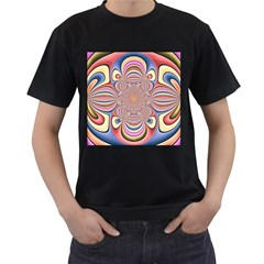 Pastel Shades Ornamental Flower Men s T-Shirt (Black) (Two Sided)