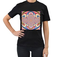 Pastel Shades Ornamental Flower Women s T Shirt (black) (two Sided)
