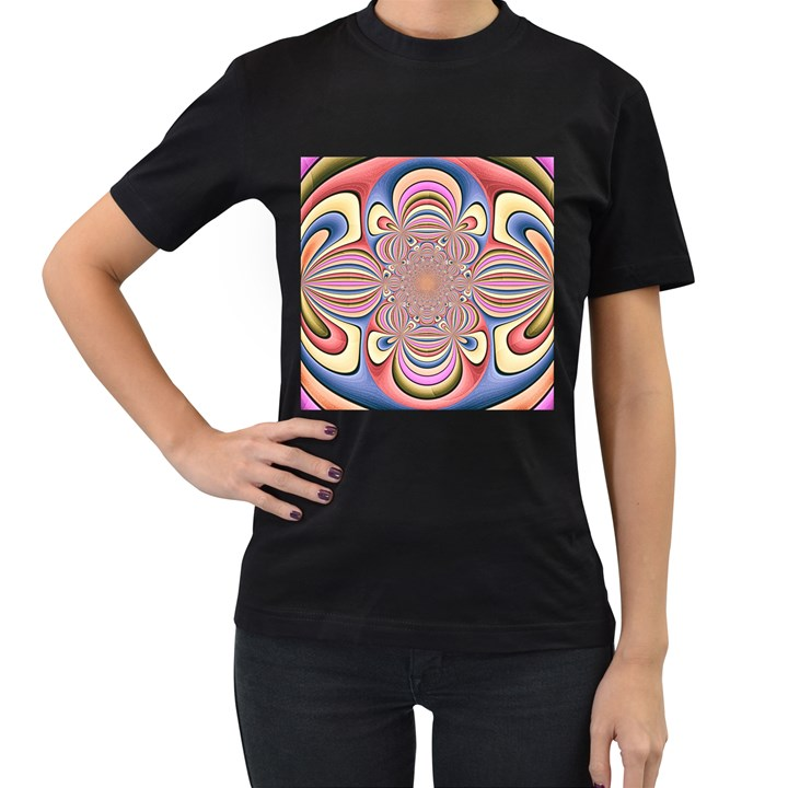 Pastel Shades Ornamental Flower Women s T-Shirt (Black) (Two Sided)