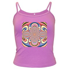 Pastel Shades Ornamental Flower Dark Spaghetti Tank
