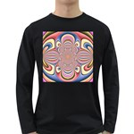 Pastel Shades Ornamental Flower Long Sleeve Dark T-Shirts Front