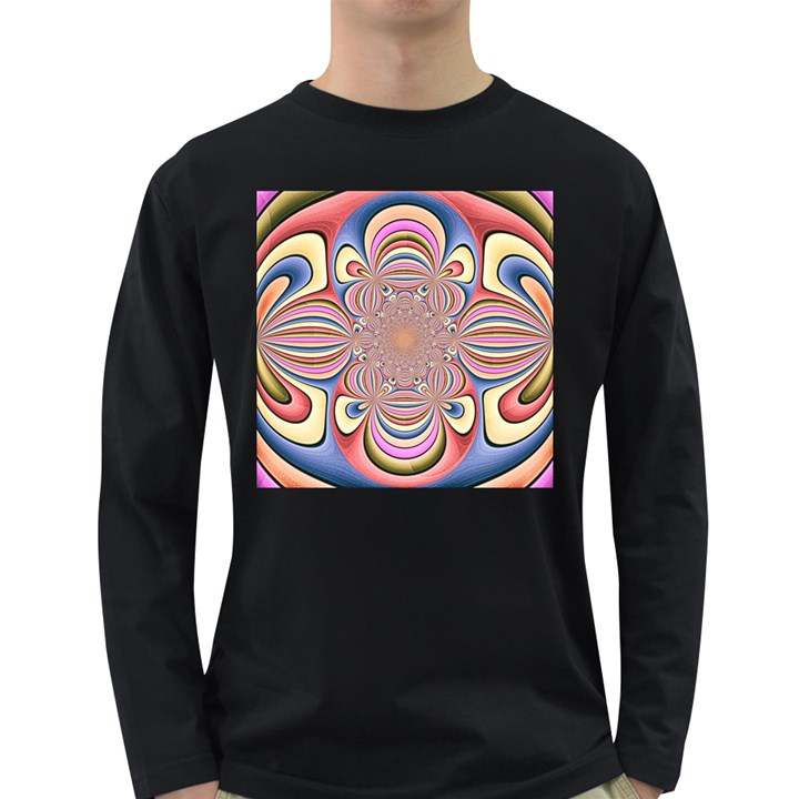 Pastel Shades Ornamental Flower Long Sleeve Dark T-Shirts