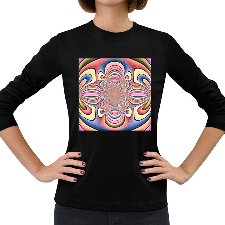 Pastel Shades Ornamental Flower Women s Long Sleeve Dark T-Shirts