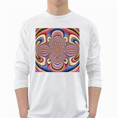 Pastel Shades Ornamental Flower White Long Sleeve T Shirts