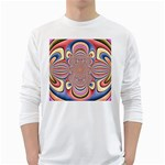 Pastel Shades Ornamental Flower White Long Sleeve T-Shirts Front