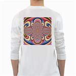 Pastel Shades Ornamental Flower White Long Sleeve T-Shirts Back