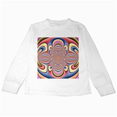 Pastel Shades Ornamental Flower Kids Long Sleeve T Shirts
