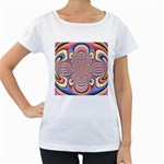 Pastel Shades Ornamental Flower Women s Loose-Fit T-Shirt (White) Front