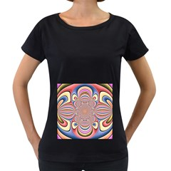 Pastel Shades Ornamental Flower Women s Loose Fit T Shirt (black)