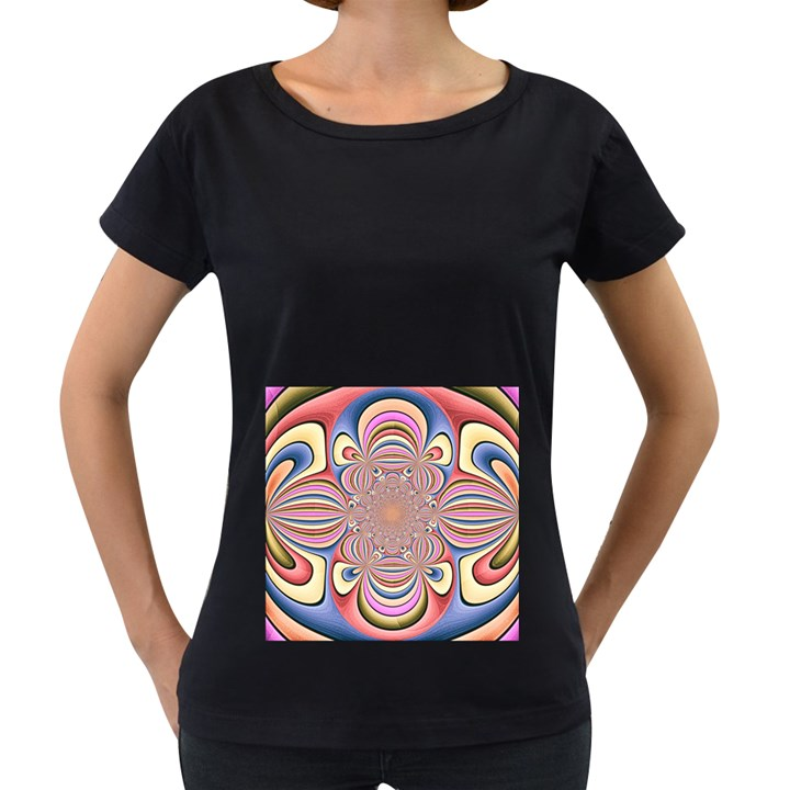 Pastel Shades Ornamental Flower Women s Loose-Fit T-Shirt (Black)