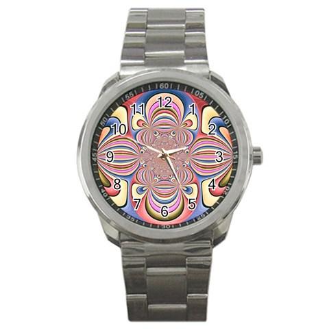 Pastel Shades Ornamental Flower Sport Metal Watch