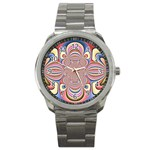 Pastel Shades Ornamental Flower Sport Metal Watch Front