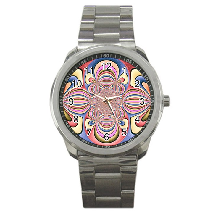 Pastel Shades Ornamental Flower Sport Metal Watch