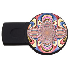 Pastel Shades Ornamental Flower USB Flash Drive Round (4 GB)