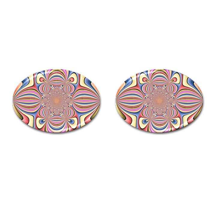 Pastel Shades Ornamental Flower Cufflinks (Oval)