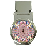 Pastel Shades Ornamental Flower Money Clip Watches Front