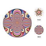 Pastel Shades Ornamental Flower Playing Cards (Round)  Front