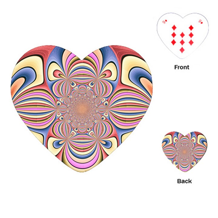 Pastel Shades Ornamental Flower Playing Cards (Heart)