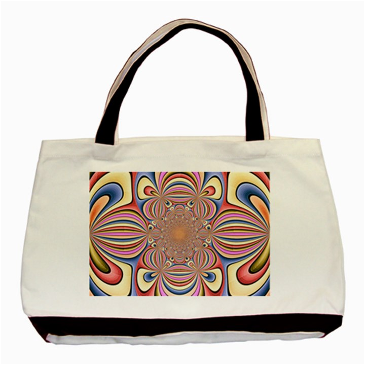 Pastel Shades Ornamental Flower Basic Tote Bag