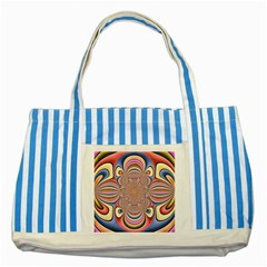Pastel Shades Ornamental Flower Striped Blue Tote Bag