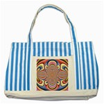 Pastel Shades Ornamental Flower Striped Blue Tote Bag Front