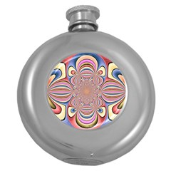 Pastel Shades Ornamental Flower Round Hip Flask (5 Oz)