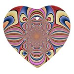 Pastel Shades Ornamental Flower Heart Ornament (2 Sides) Back