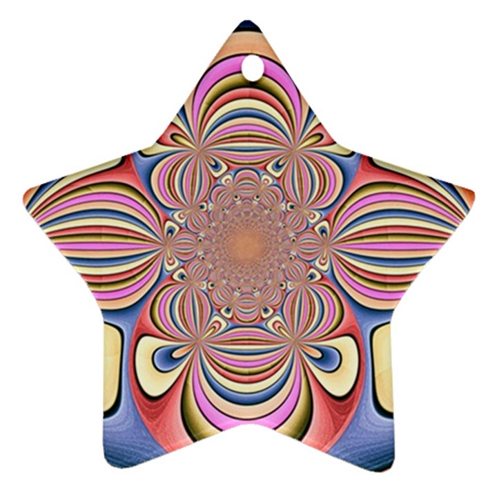 Pastel Shades Ornamental Flower Star Ornament (Two Sides)
