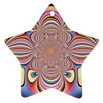 Pastel Shades Ornamental Flower Star Ornament (Two Sides)  Back