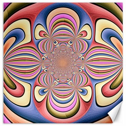 Pastel Shades Ornamental Flower Canvas 12  x 12