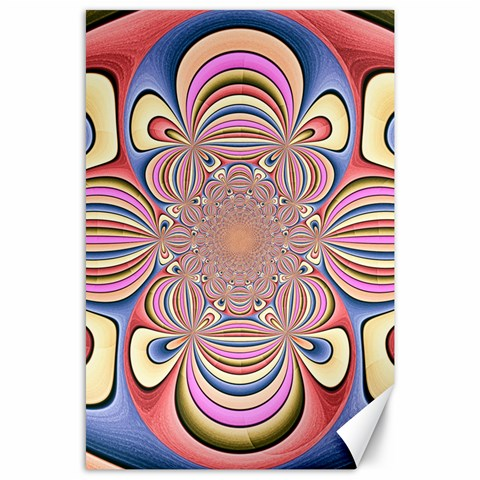 Pastel Shades Ornamental Flower Canvas 24  x 36