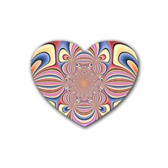 Pastel Shades Ornamental Flower Rubber Coaster (heart)