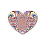 Pastel Shades Ornamental Flower Rubber Coaster (Heart)  Front