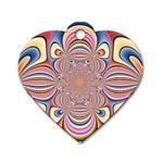 Pastel Shades Ornamental Flower Dog Tag Heart (One Side) Front