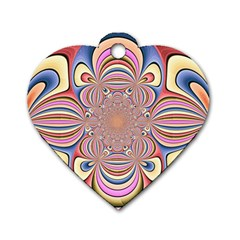 Pastel Shades Ornamental Flower Dog Tag Heart (Two Sides)