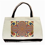 Pastel Shades Ornamental Flower Basic Tote Bag (Two Sides) Back