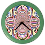 Pastel Shades Ornamental Flower Color Wall Clocks Front