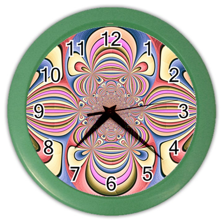 Pastel Shades Ornamental Flower Color Wall Clocks
