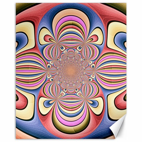 Pastel Shades Ornamental Flower Canvas 11  x 14
