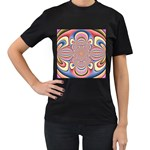 Pastel Shades Ornamental Flower Women s T-Shirt (Black) Front