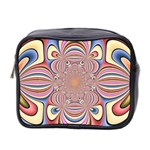Pastel Shades Ornamental Flower Mini Toiletries Bag 2-Side Front