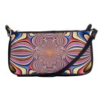 Pastel Shades Ornamental Flower Shoulder Clutch Bags Front