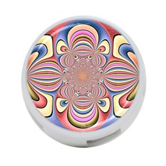 Pastel Shades Ornamental Flower 4-Port USB Hub (One Side)