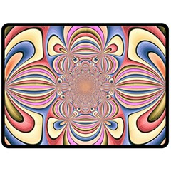 Pastel Shades Ornamental Flower Fleece Blanket (Large)