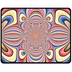 Pastel Shades Ornamental Flower Fleece Blanket (medium)