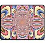 Pastel Shades Ornamental Flower Fleece Blanket (Medium)  60 x50 Blanket Front